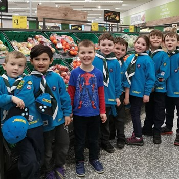 The Beavers learning about healthy eating at Morrisons supermarket in 2019